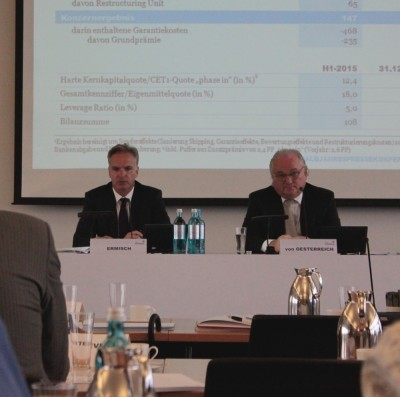 Halbjahrespressekonferenz der HSH Nordbank 2015, Finanzvorstand Ermisch und Vorstandschef von Oesterreich