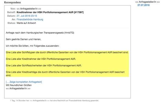 IFG Anfrage Schiffskredite HSH Juli2016
