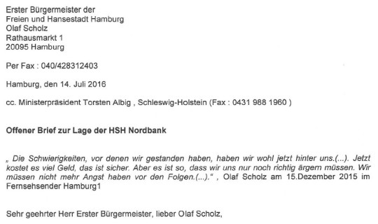 Offener Brief an Hamburgs Bürgermeister Olaf Scholz